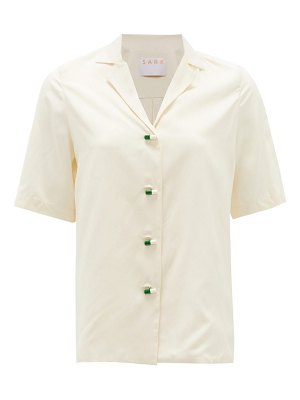 S.A.R.K daily dose pill-button short-sleeved silk shirt
