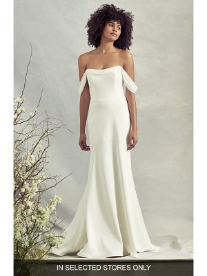 Savannah Miller bluebell off the shoulder crepe trumpet wedding dress