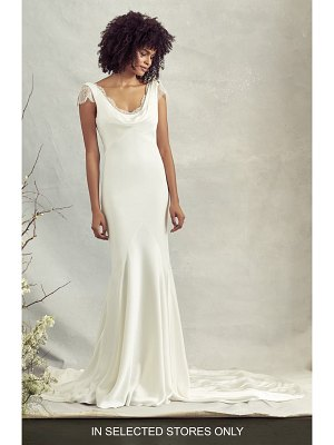 Savannah Miller rae cowl neck crepe trumpet wedding dress