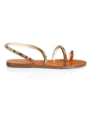 Schutz azalea crystal-embellished leather slingback sandals