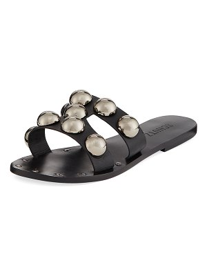 Schutz Benedita Flat Dome-Stud Leather Slide Sandals