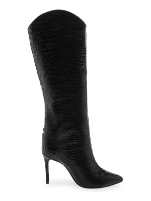 Schutz maryana knee-high croc-embossed leather boots