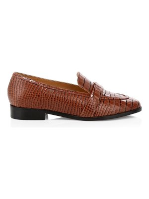 Schutz romina crocodile-embossed leather penny loafers