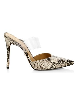 Schutz sionne pvc & snakeskin-embossed leather mules