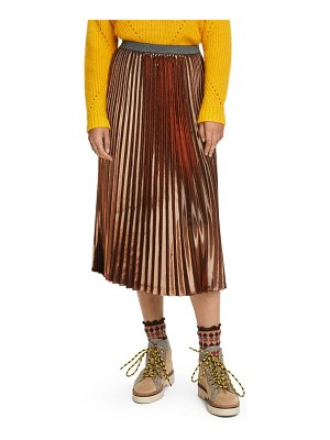 Scotch & Soda metallic pleated midi skirt