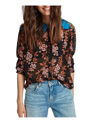 Scotch & Soda mixed print tie neck top