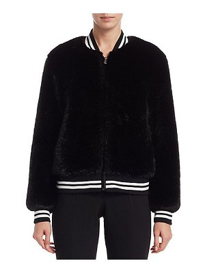 Scripted faux fur stripe bomber jacket