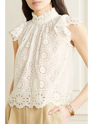 Sea daisy ruffled broderie anglaise cotton top