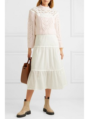 Sea emma broderie anglaise-trimmed knitted and cotton-voile midi dress