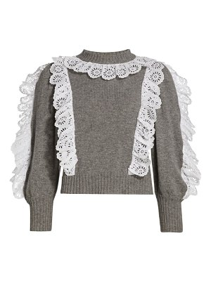 Sea eyelet lace-trimmed sweater