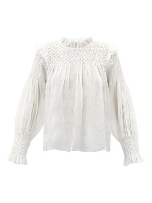 Sea geneva smocked ramie blouse