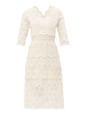 Sea laurel tiered guipure-lace dress