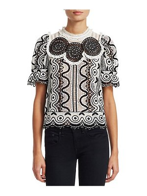 Sea lola geometric puff sleeve crochet top