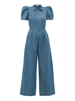 Sea piper puff-sleeve cotton-blend chambray jumpsuit
