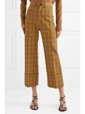 Sea poirot cropped checked cotton-blend twill straight-leg pants