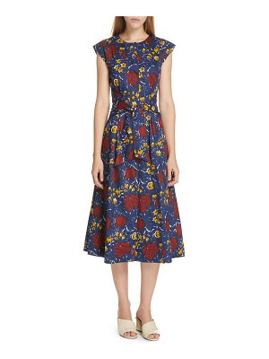 Sea willow belted floral print midi dress