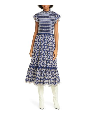 Sea zippy smocked eyelet midi dress