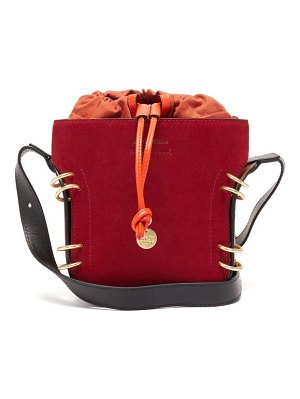 See By Chloe alvy ring-embellished suede and leather bucket bag