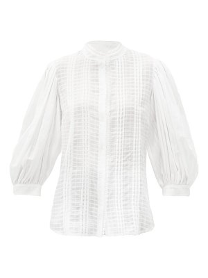 See By Chloe balloon-sleeve pintucked cotton-gauze blouse