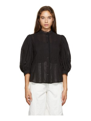 See By Chloe black voile puff sleeve blouse