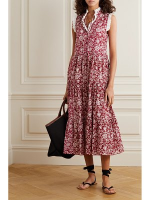 See By Chloe broderie anglaise-trimmed tiered floral-print cotton midi dress