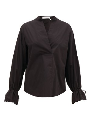 See By Chloe collarless v-neck cotton-poplin blouse