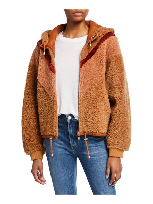 See By Chloe Colorblocked Shearling Bomber Hoodie
