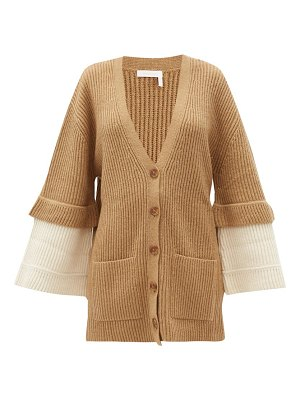 See By Chloe contrast-cuff ribbed-knit cardigan