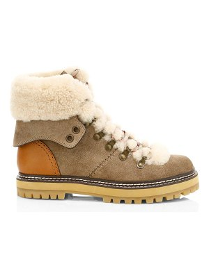 See By Chloe eileen shearling-lined suede hiking boots