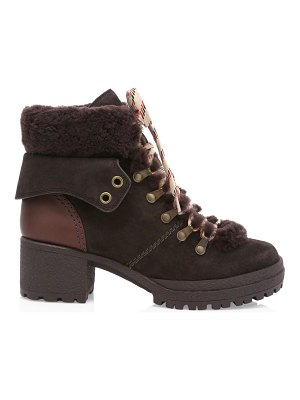 See By Chloe eileen shearling-trimmed leather hiking boots