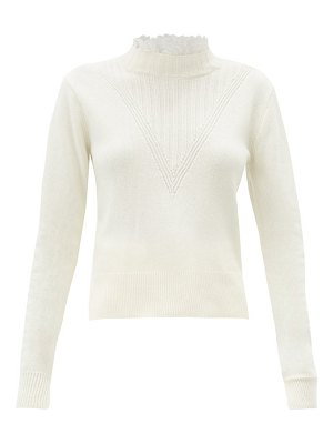 See By Chloe embroidered-collar ribbed v-panel sweater