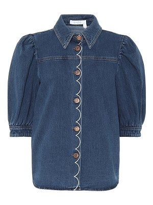 See By Chloe embroidered denim blouse