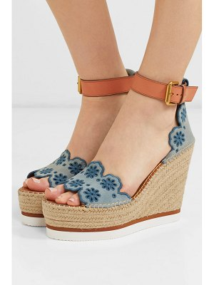 See By Chloe embroidered suede and leather espadrille wedge sandals