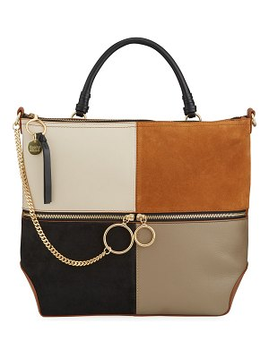See By Chloe Emy Small Colorblock Leather/Suede Tote Bag
