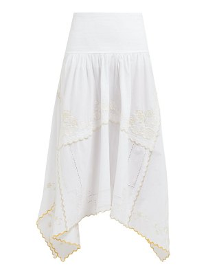 See By Chloe floral-embroidered cotton midi skirt