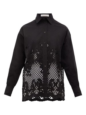 See By Chloe floral-embroidered cotton-poplin shirt
