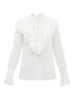 See By Chloe floral embroidered ruffled crepe blouse