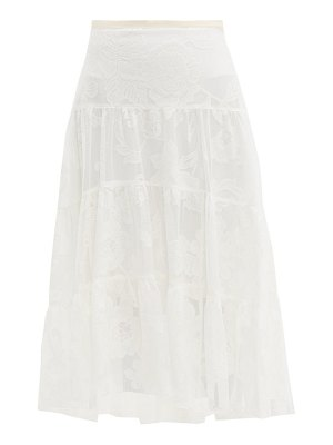 See By Chloe floral-embroidered tiered mesh skirt