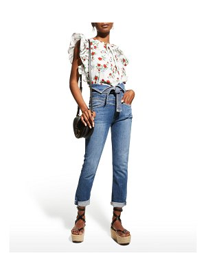 See By Chloe Floral-Print Sleeveless Ruffle Top