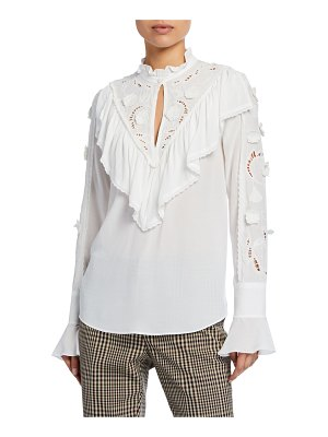 See By Chloe Fluid Jersey Eyelet-Embroidered Ruffle Blouse
