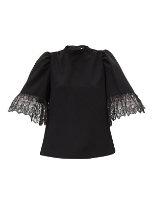 See By Chloe lace-trimmed bell-sleeved crepe blouse