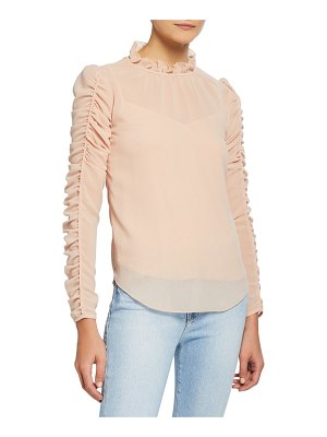 See By Chloe Long-Sleeve Ruched Georgette Blouse