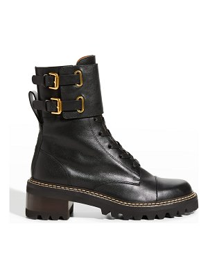 See By Chloe Mallory Buckle-Cuff Moto Combat Booties
