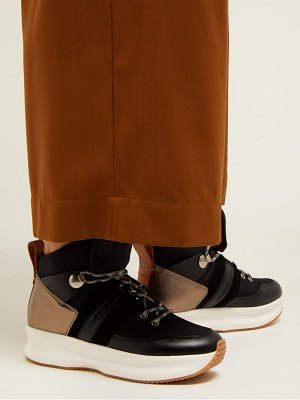 See By Chloe nicole leather and mesh high top trainers