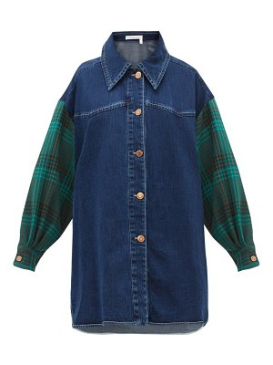 See By Chloe oversized checked sleeve denim shirt