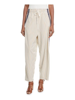 See By Chloe Pinstripe Wide-Leg Drawstring Pants