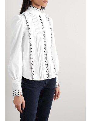 See By Chloe pintucked embroidered cotton-poplin blouse