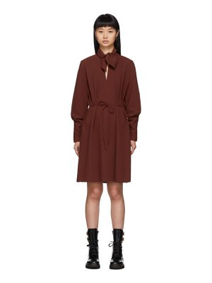See By Chloe red neck tie long sleeve dress