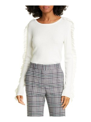 See By Chloe ruffle ribbed cotton blend sweater