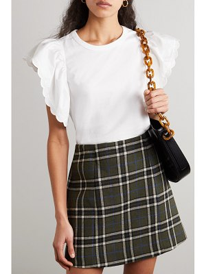 See By Chloe scalloped cotton-poplin and cotton-jersey blouse